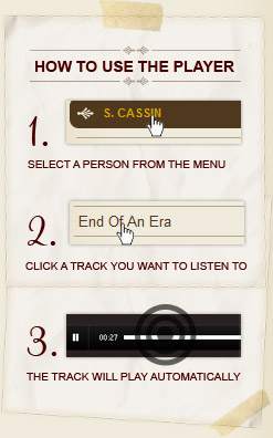How to Use - Select A Person, Choose A Track, Your Chosen Track Will Play Automatically.